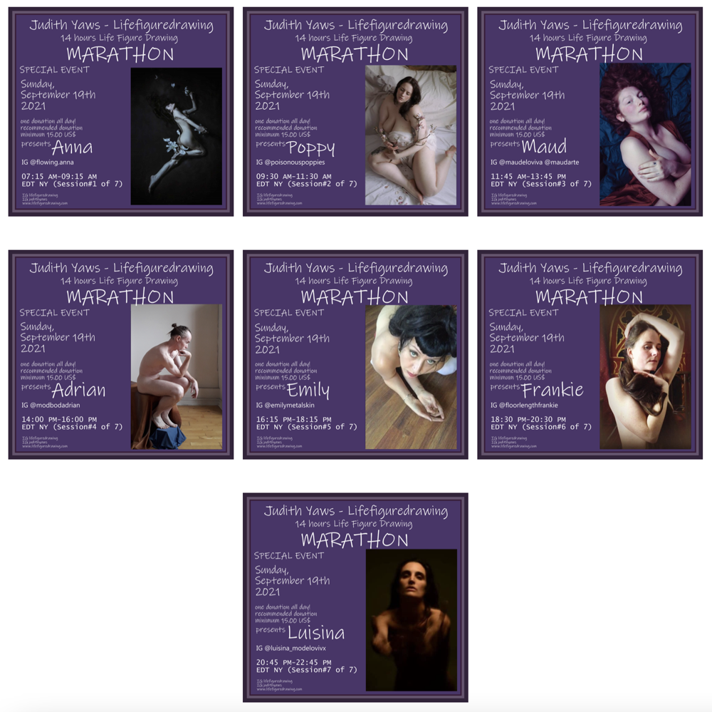 14 HOUR MARATHON Life drawing Session hosted by Judith Yaws / 7 Models - one Donation